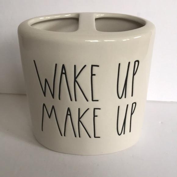 "Rae Dunn Makeup brush holder ""Wake up Make up"""